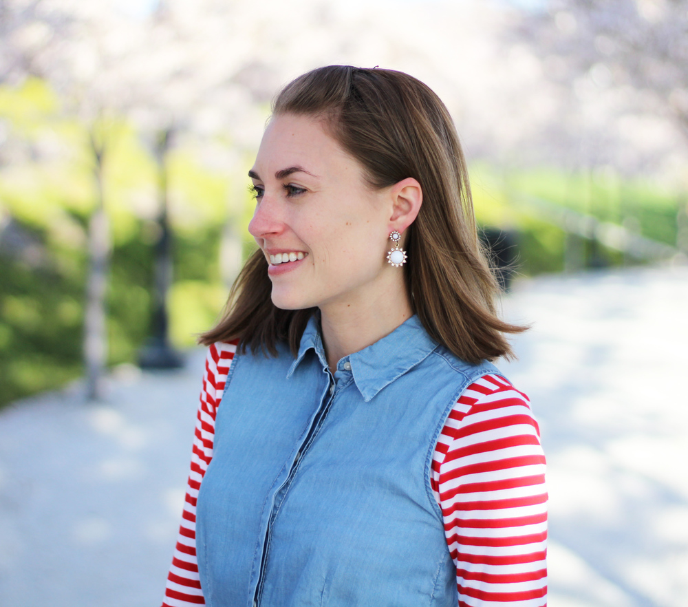 Red and white striped tee + chambray dress + white statement earrings — Cotton Cashmere Cat Hair
