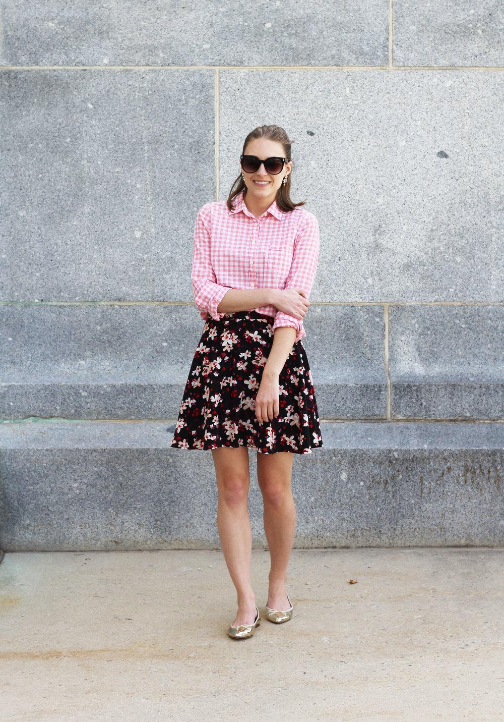 Pink gingham shirt, dark floral skirt, gold J.Crew 'Gemma' flats — Cotton Cashmere Cat Hair