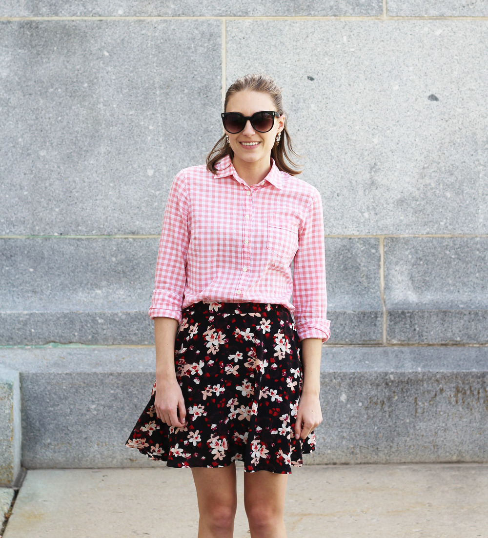 Pink gingham shirt + dark floral skirt + statement earrings — Cotton Cashmere Cat Hair