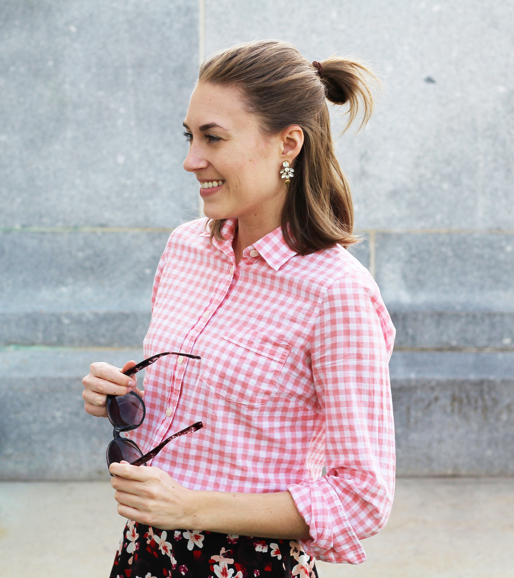 Pink gingham shirt + crystal drop statement earrings — Cotton Cashmere Cat Hair
