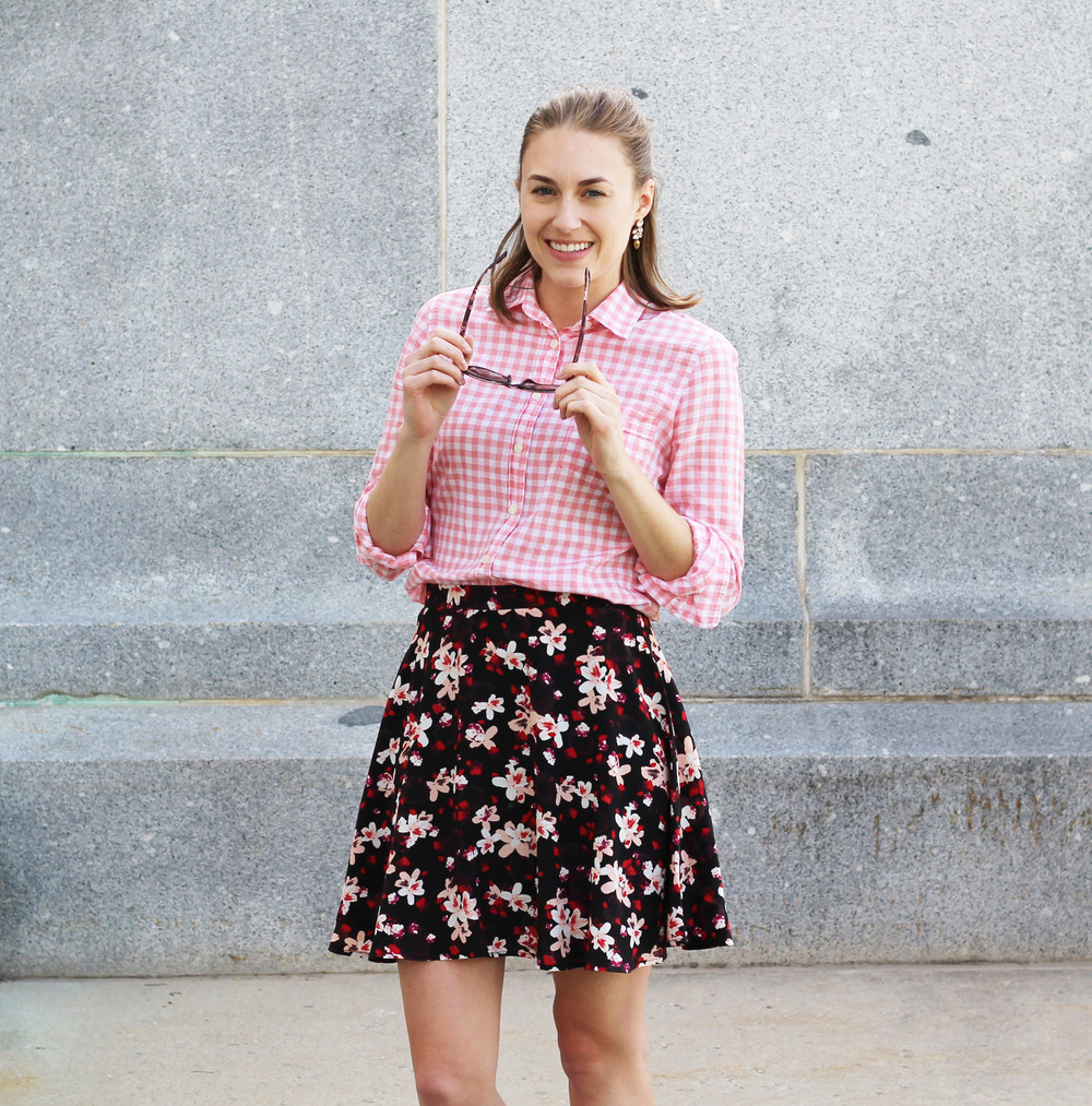 Pink gingham shirt with dark floral skirt — Cotton Cashmere Cat Hair