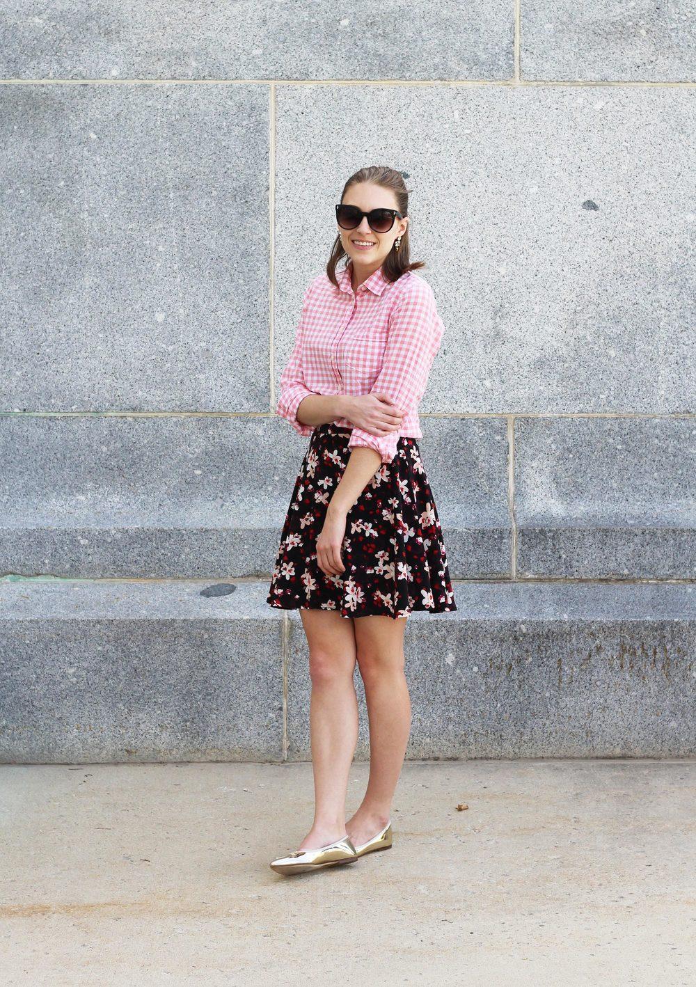 Pink gingham shirt, dark floral skirt, metallic gold flats — Cotton Cashmere Cat Hair