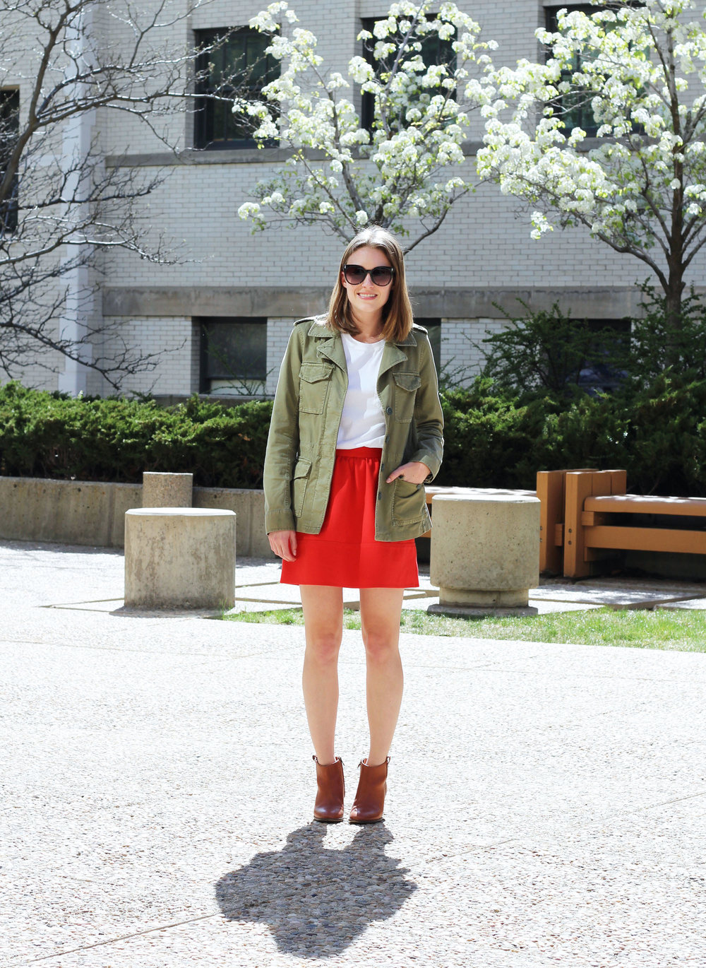 Madewell 'Outbound' jacket, white tee, red mini skirt, Madewell 'Billie' boots — Cotton Cashmere Cat Hair