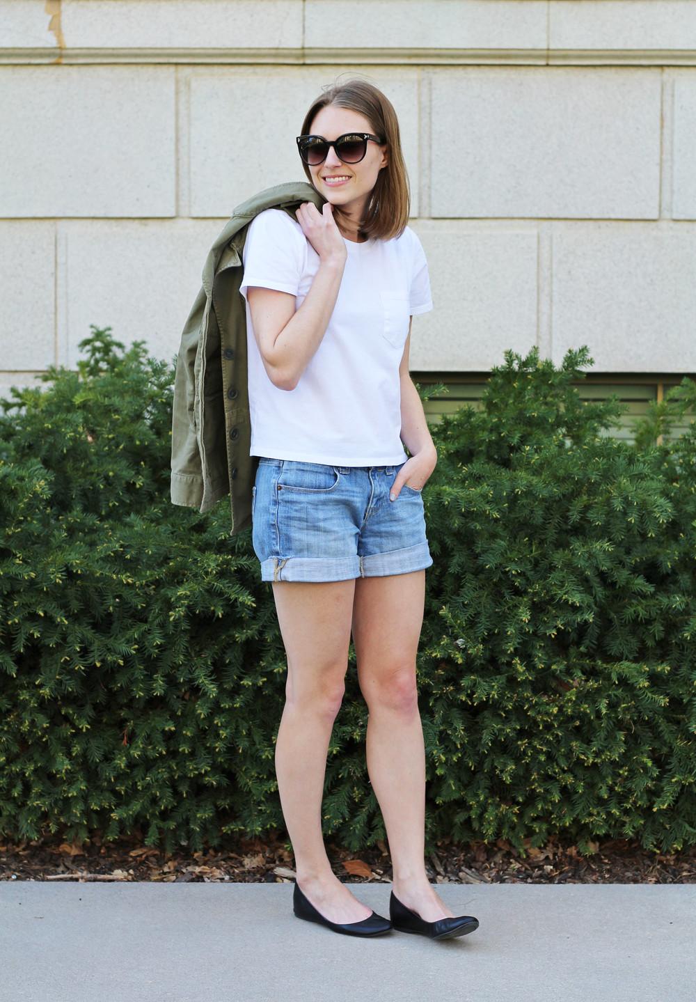 Everlane white box tee, denim shorts, J.Crew black 'Cece' flats, utility jacket — Cotton Cashmere Cat Hair