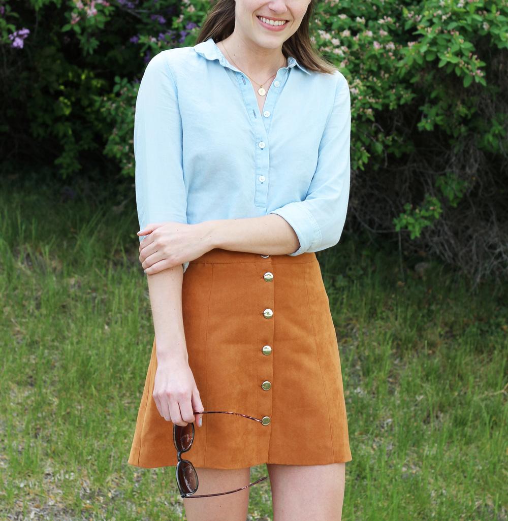 Light blue shirt + tan button-front faux suede skirt — Cotton Cashmere Cat Hair