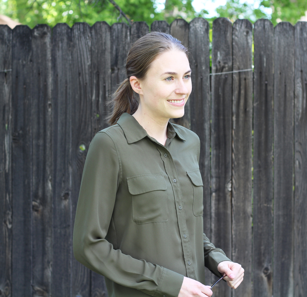 Olive green shirt outfit — Cotton Cashmere Cat Hair