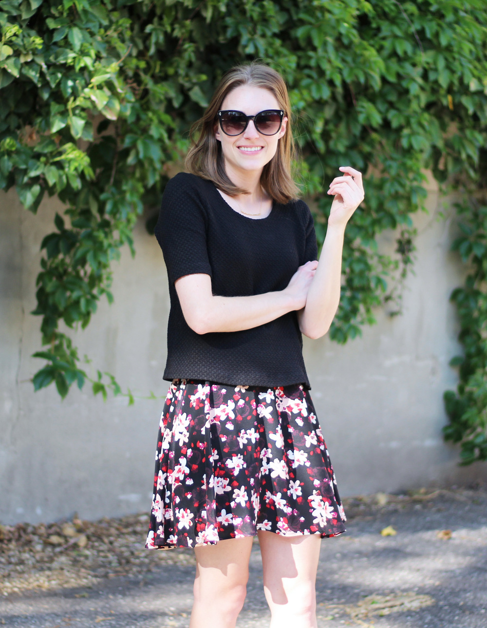 Black top + dark floral skirt + gold Gorjana necklace — Cotton Cashmere Cat Hair