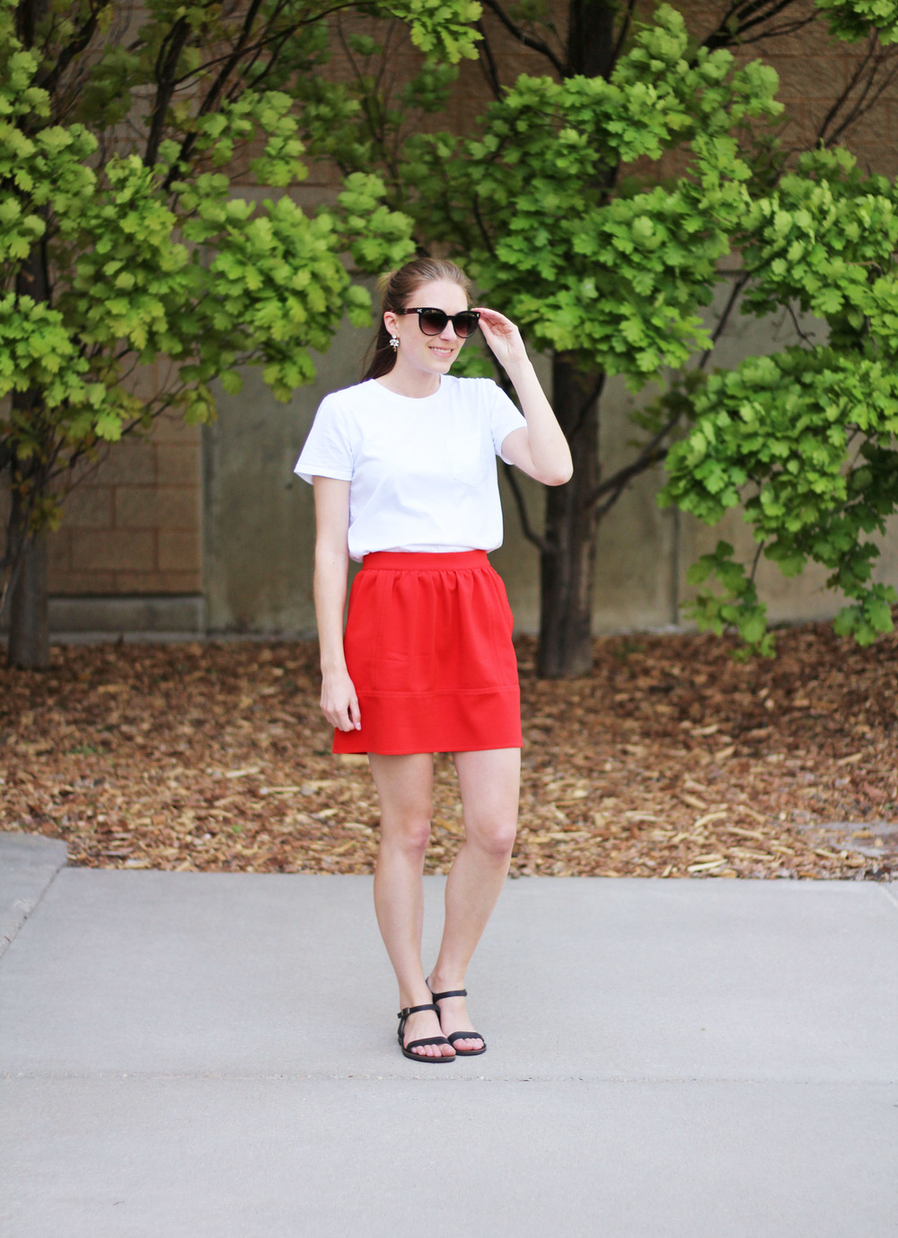 Everlane white tee, Madewell red skirt, simple black sandals — Cotton Cashmere Cat Hair