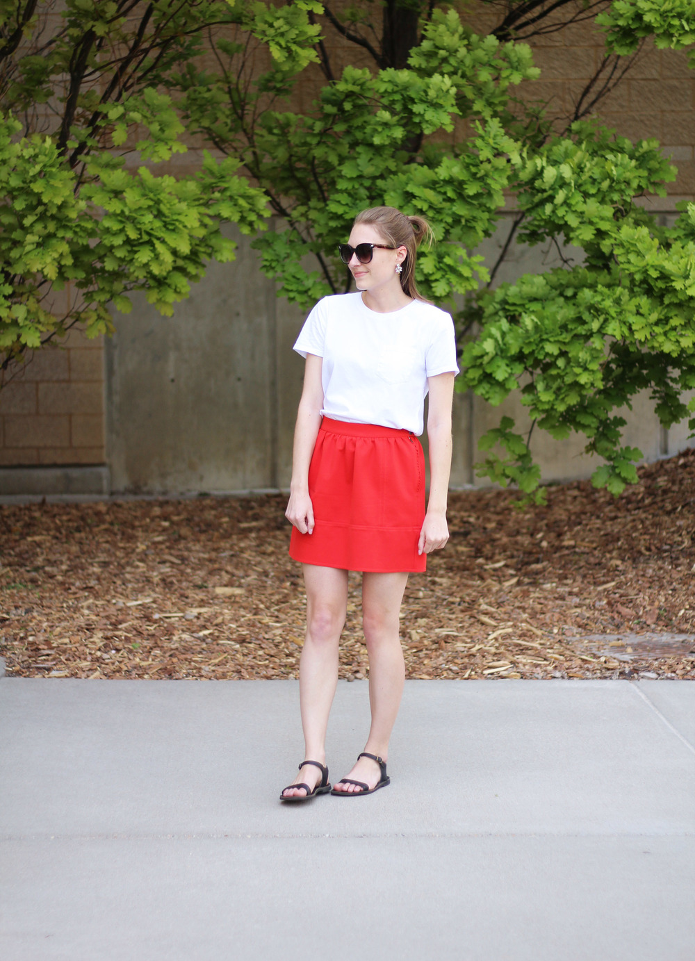 Simple spring outfit: White tee + red skirt + black sandals — Cotton Cashmere Cat Hair