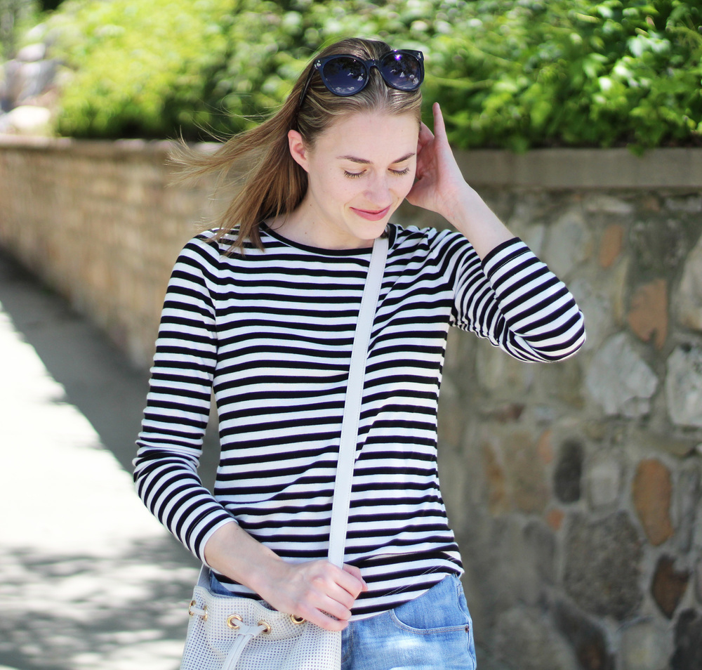 Black and white stripes + denim + bucket bag — Cotton Cashmere Cat Hair