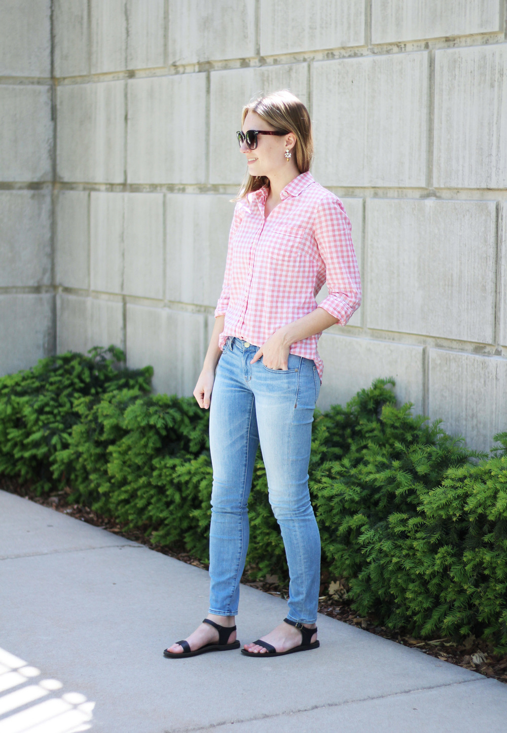 Spring outfit: Pink gingham shirt + light wash skinny jeans + black sandals — Cotton Cashmere Cat Hair