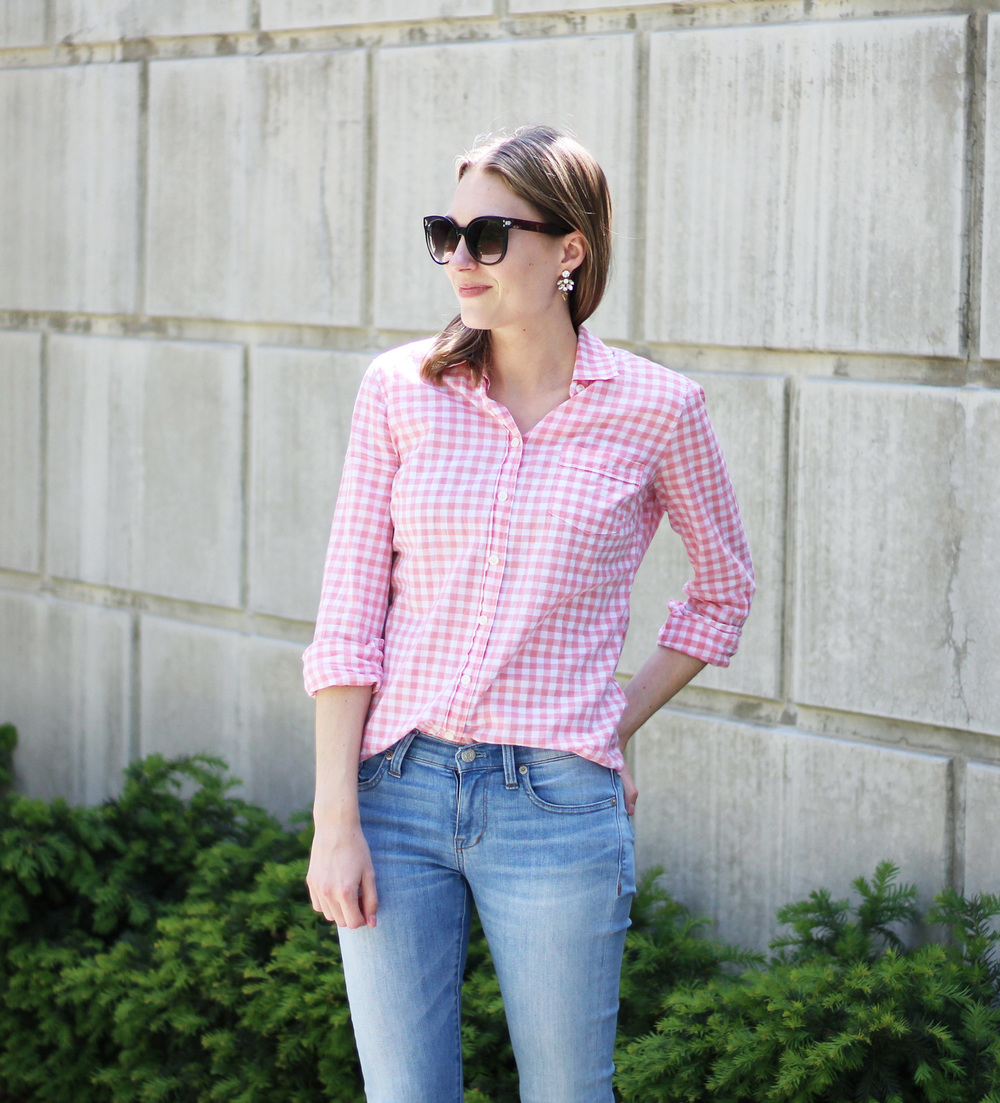 Pink gingham shirt + light wash denim + statement earrings — Cotton Cashmere Cat Hair