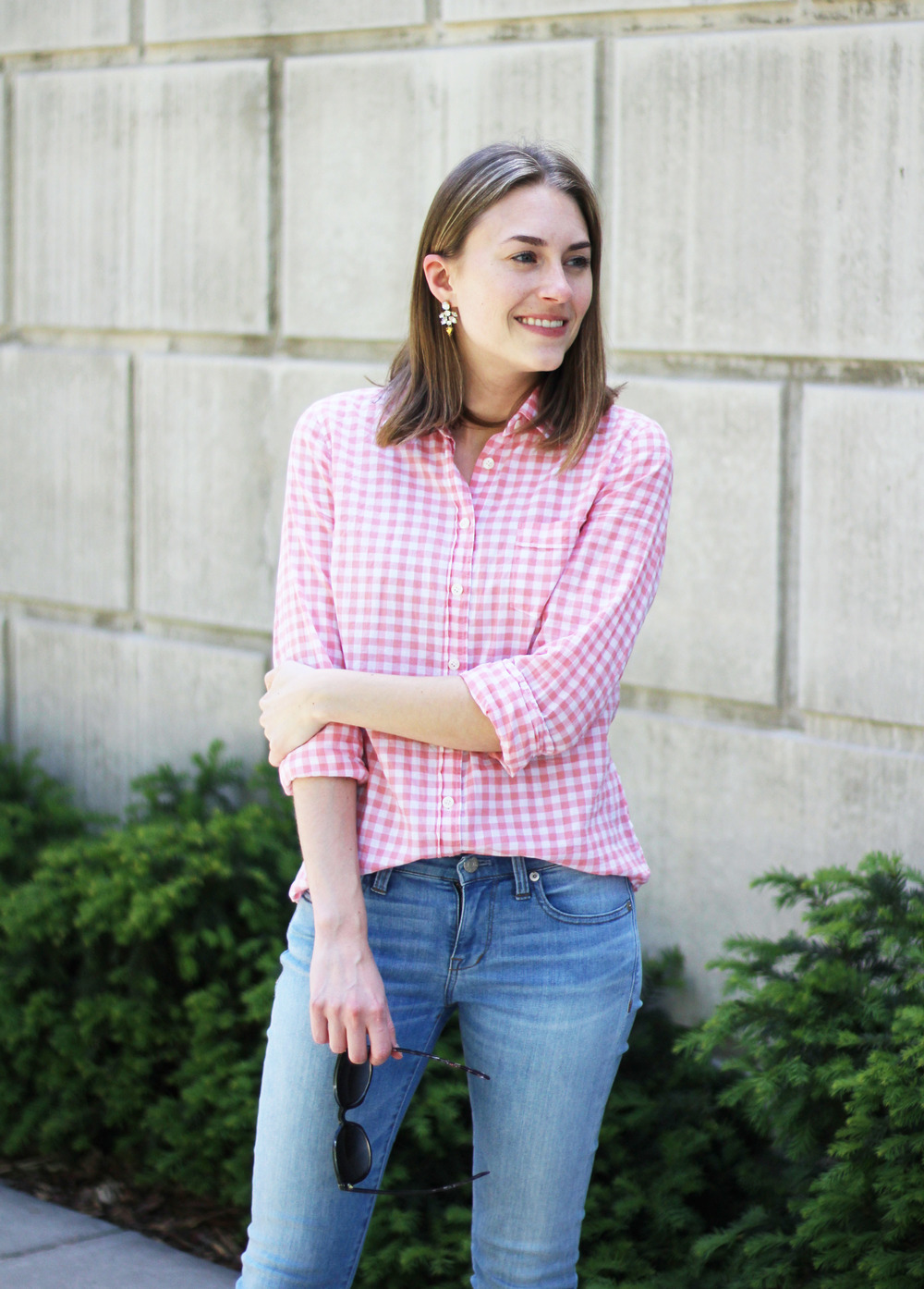J.Crew statement earrings + pink gingham shirt + light wash denim — Cotton Cashmere Cat Hair
