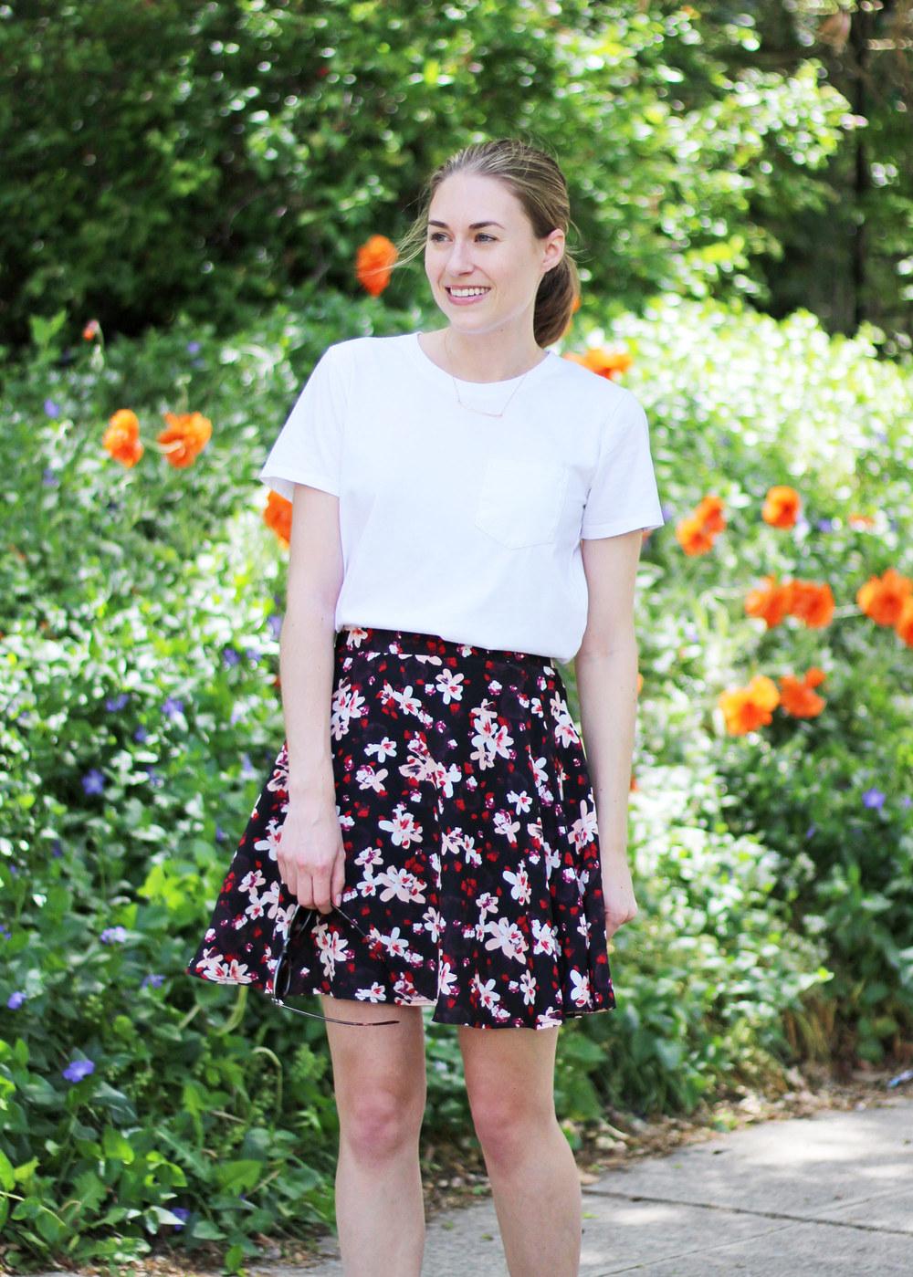 Gorjana necklace + white tee + dark floral skirt — Cotton Cashmere Cat Hair