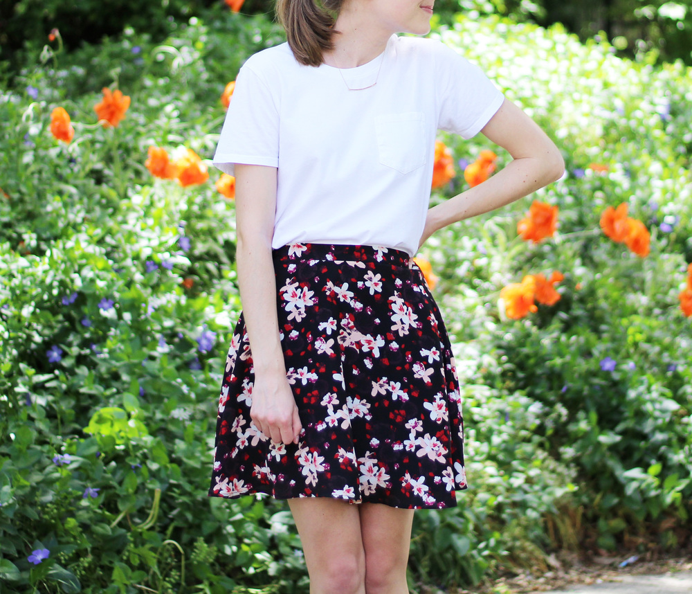Gorjana necklace + white tee + dark floral skirt — Cotton Cashmere Cat Hair