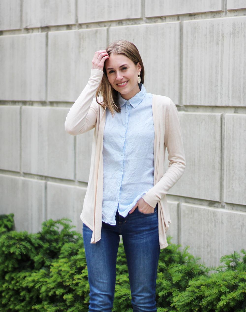 Beige cardigan, light blue linen shirt, skinny jeans, statement earrings — Cotton Cashmere Cat Hair
