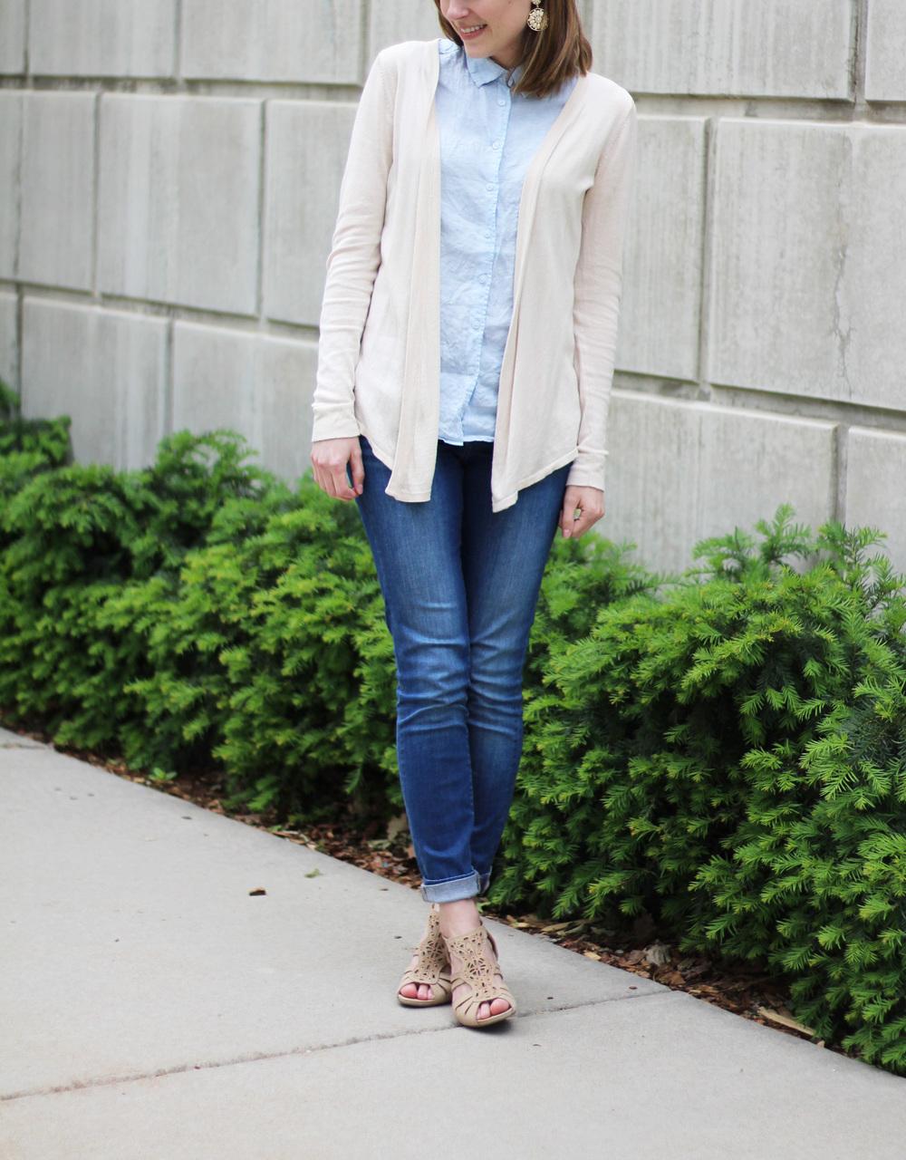 Beige cardigan, light blue linen shirt, skinny jeans, beige sandals — Cotton Cashmere Cat Hair