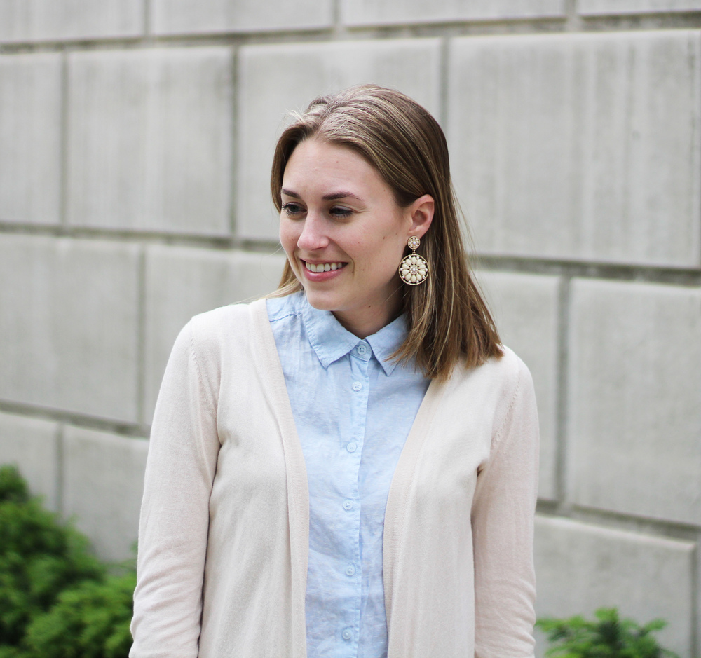 Statement earrings + beige cardigan + light blue linen shirt — Cotton Cashmere Cat Hair