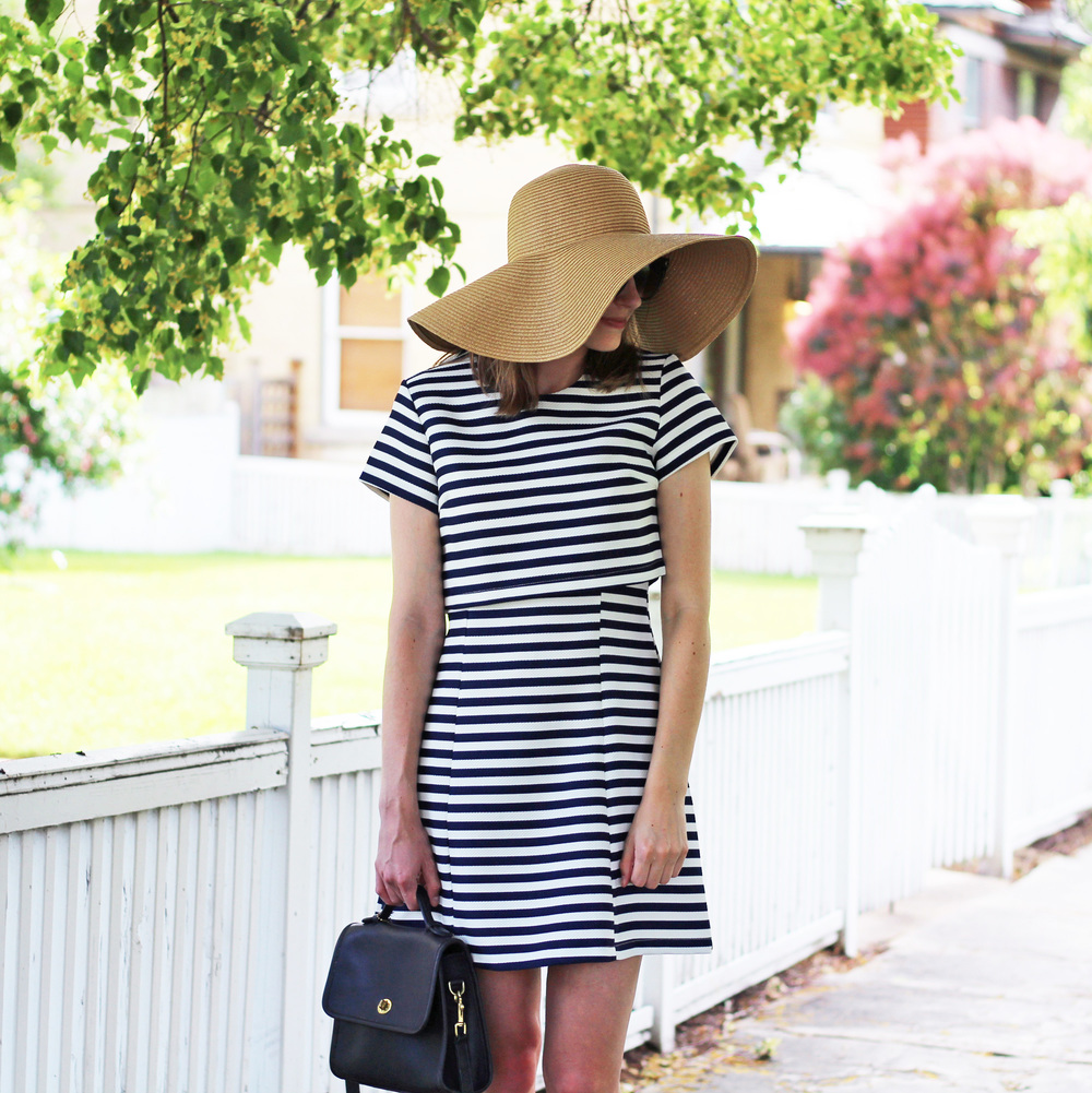 Navy striped dress + straw sun hat — Cotton Cashmere Cat Hair