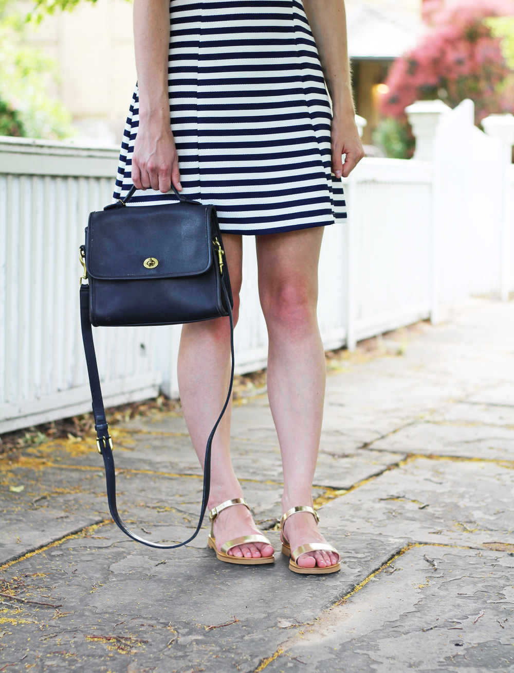 Navy striped dress + gold sandals + navy Coach 'Court' bag — Cotton Cashmere Cat Hair