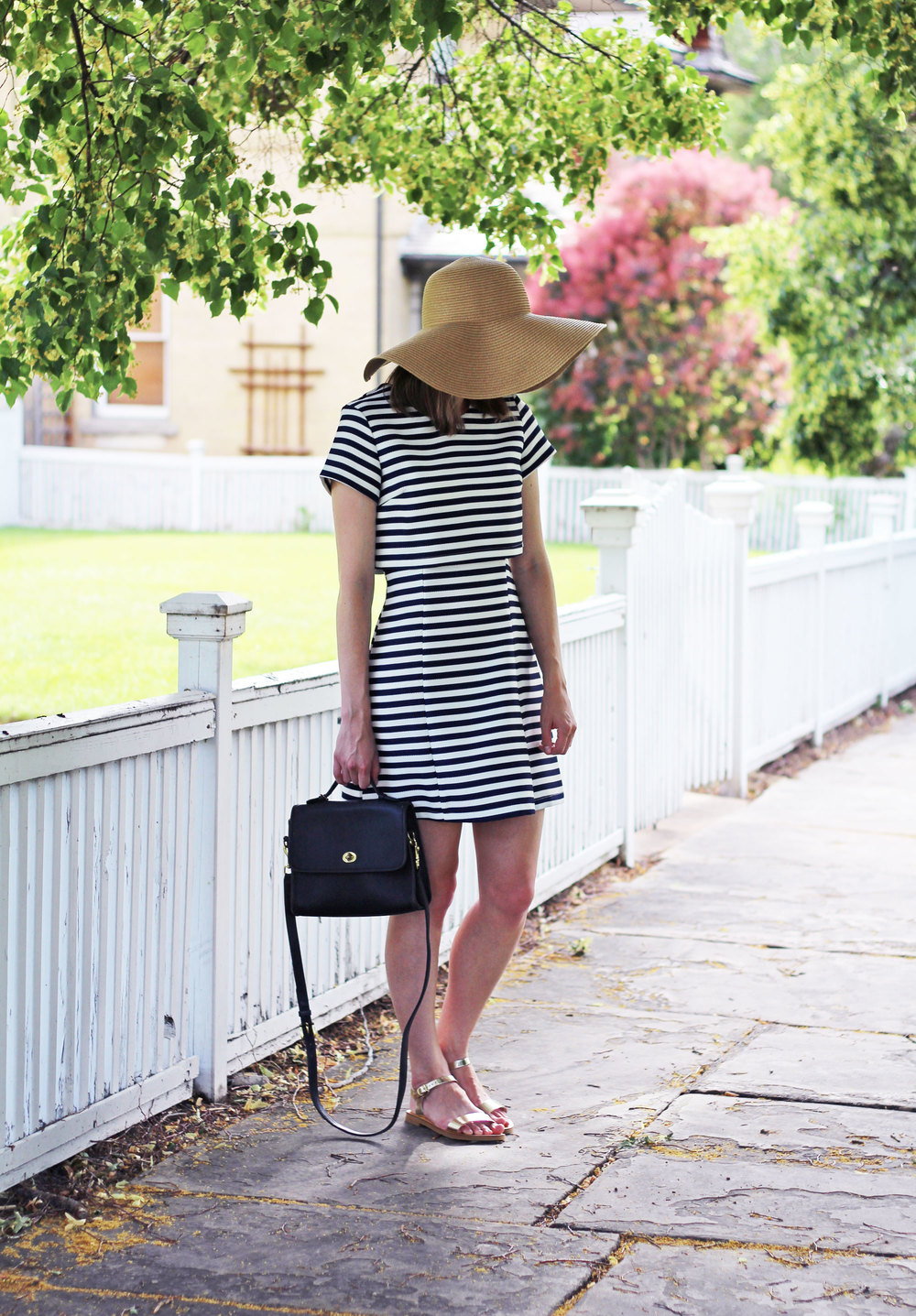 Straw sun hat, navy striped dress, navy Coach bag, gold sandals — Cotton Cashmere Cat Hair