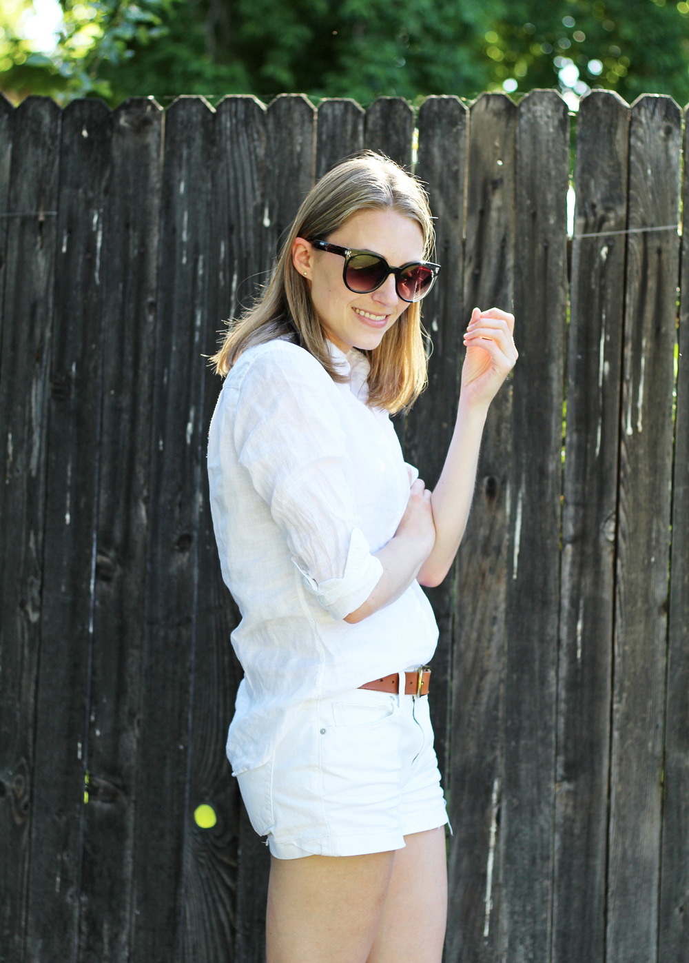 White linen button-down shirt with white shorts — Cotton Cashmere Cat Hair