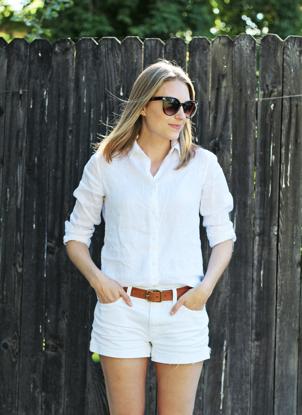 White linen button down shirt outfit with white shorts — Cotton Cashmere Cat Hair