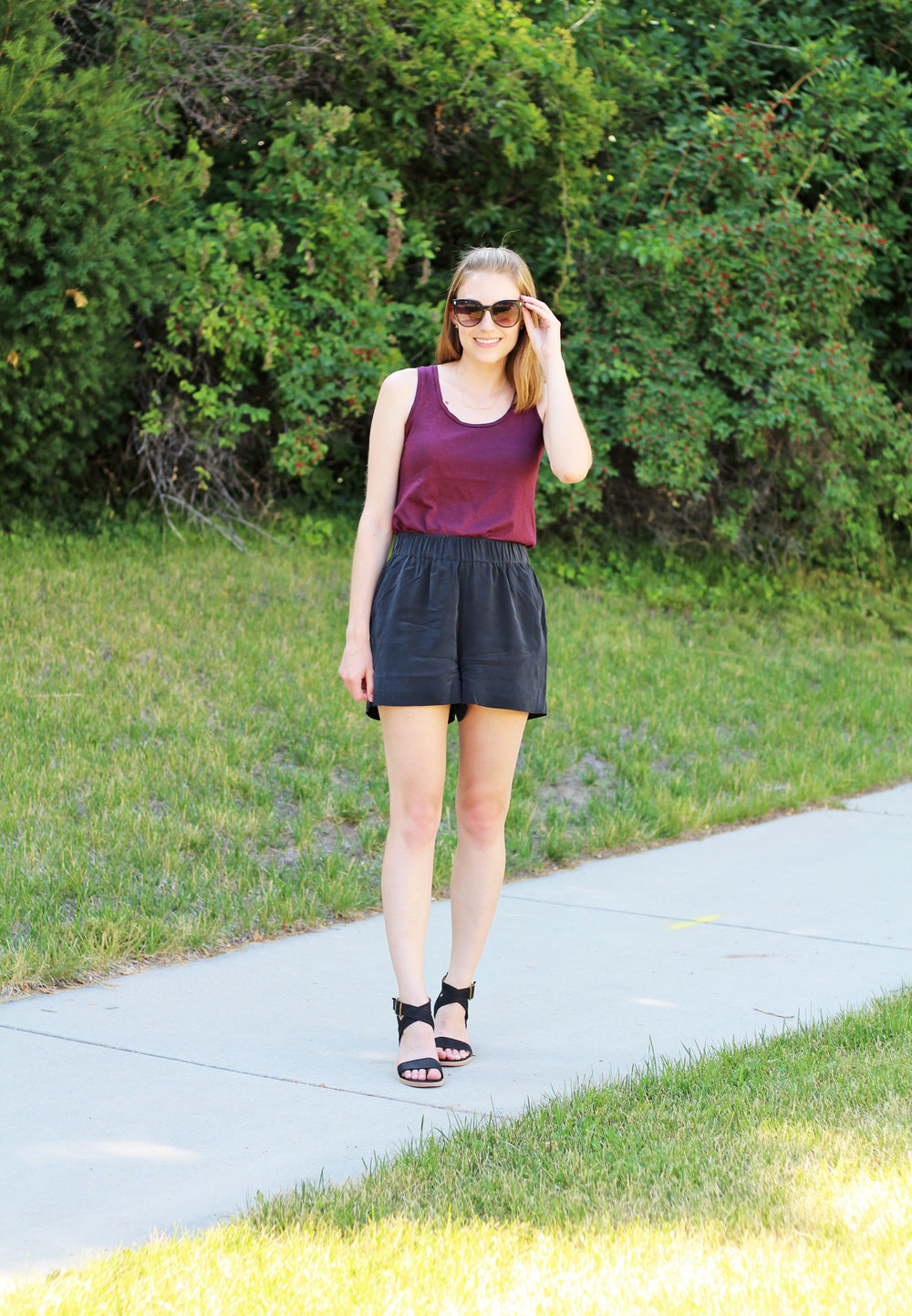 Burgundy tank top, black silk shorts, black Steve Madden sandals — Cotton Cashmere Cat Hair