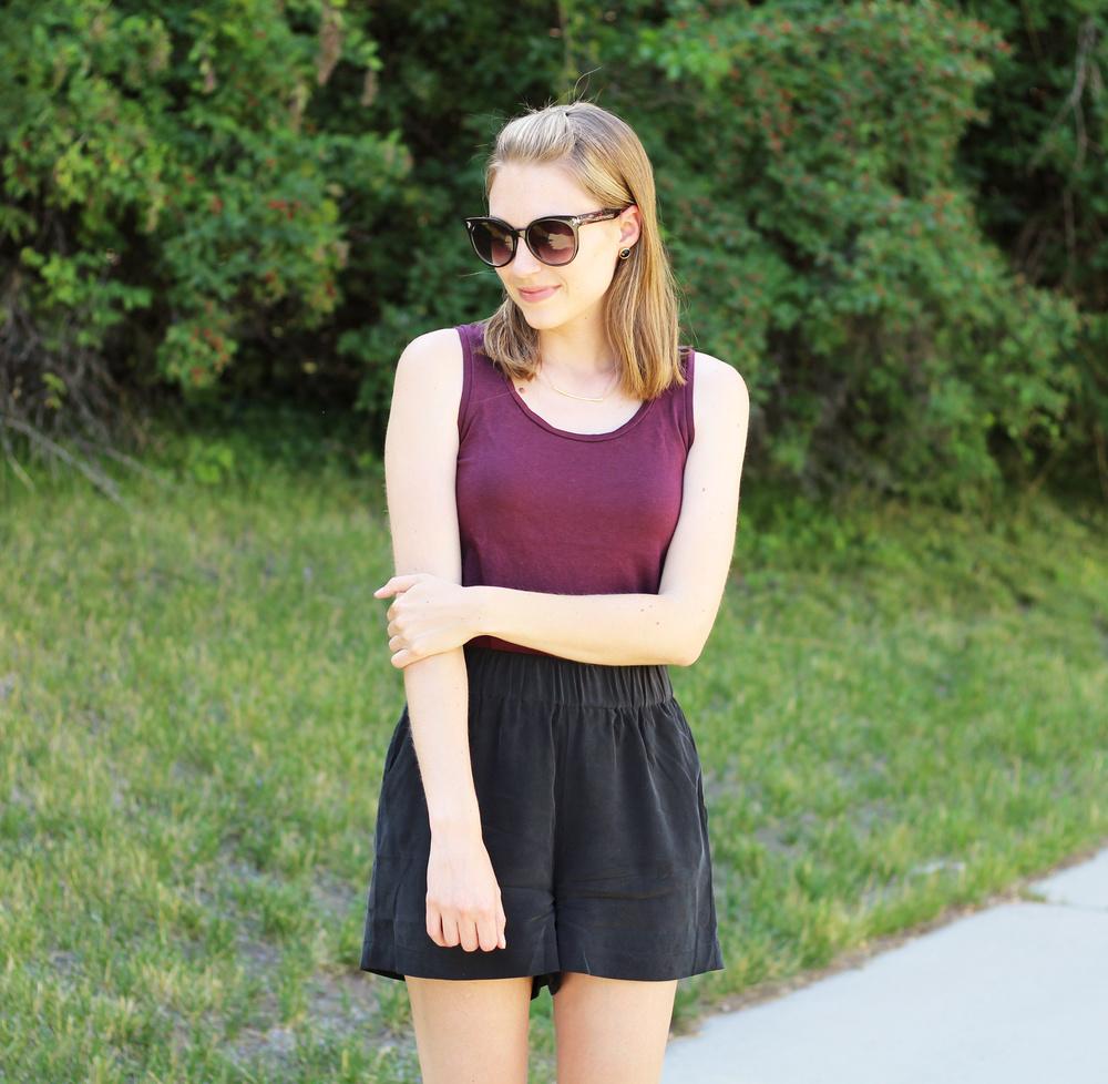 Grana burgundy pima tank top + black silk shorts — Cotton Cashmere Cat Hair