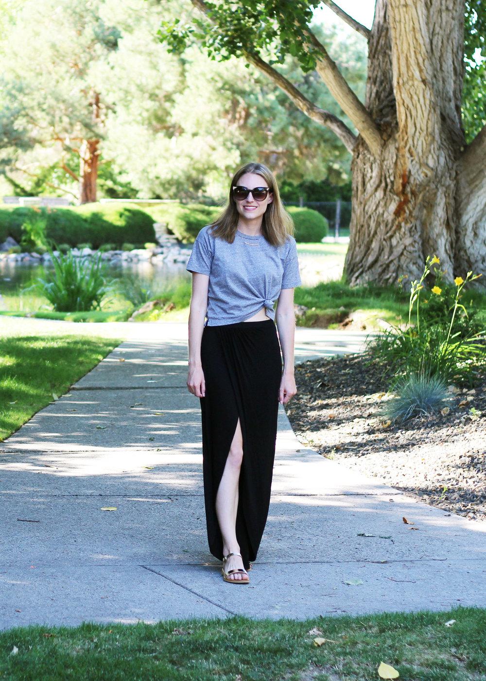822820e3cf00 Black Cotton Maxi Skirt