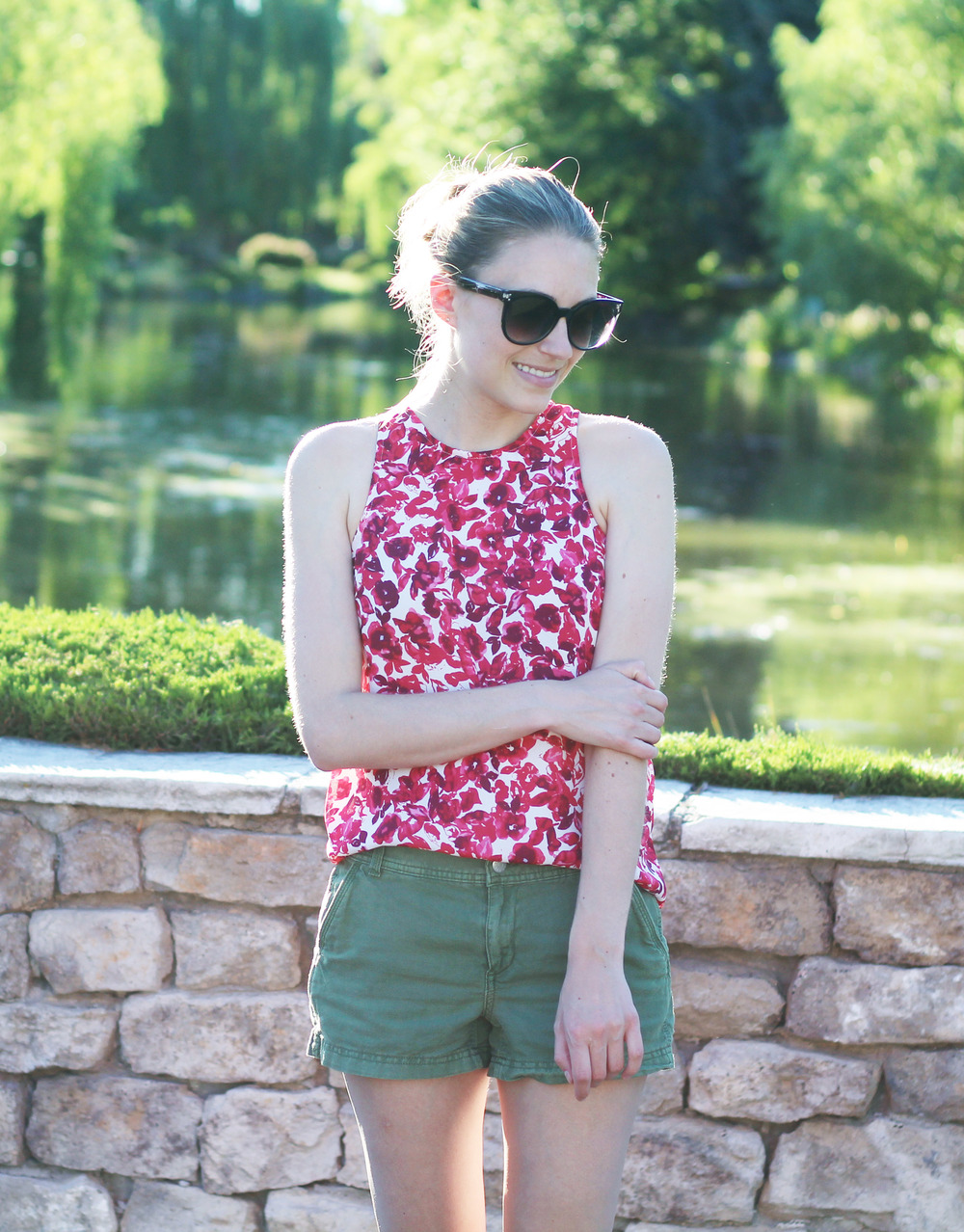Who What Wear for Target red floral tank top + green shorts — Cotton Cashmere Cat Hair