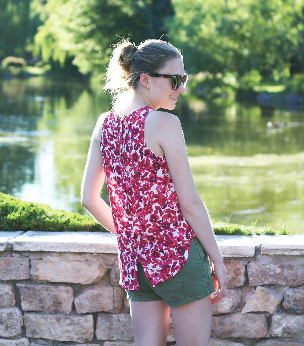 Who What Wear for Target red floral button-back tank top with green shorts — Cotton Cashmere Cat Hair