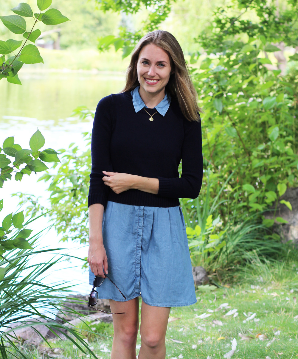 Navy cropped sweater layered over chambray dress — Cotton Cashmere Cat Hair