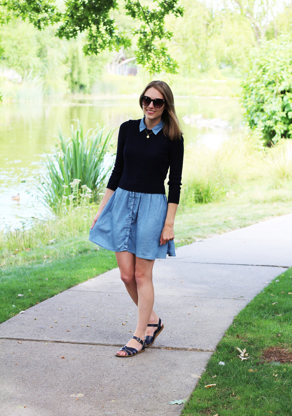 Navy cropped sweater with chambray dress and navy sandals — Cotton Cashmere Cat Hair