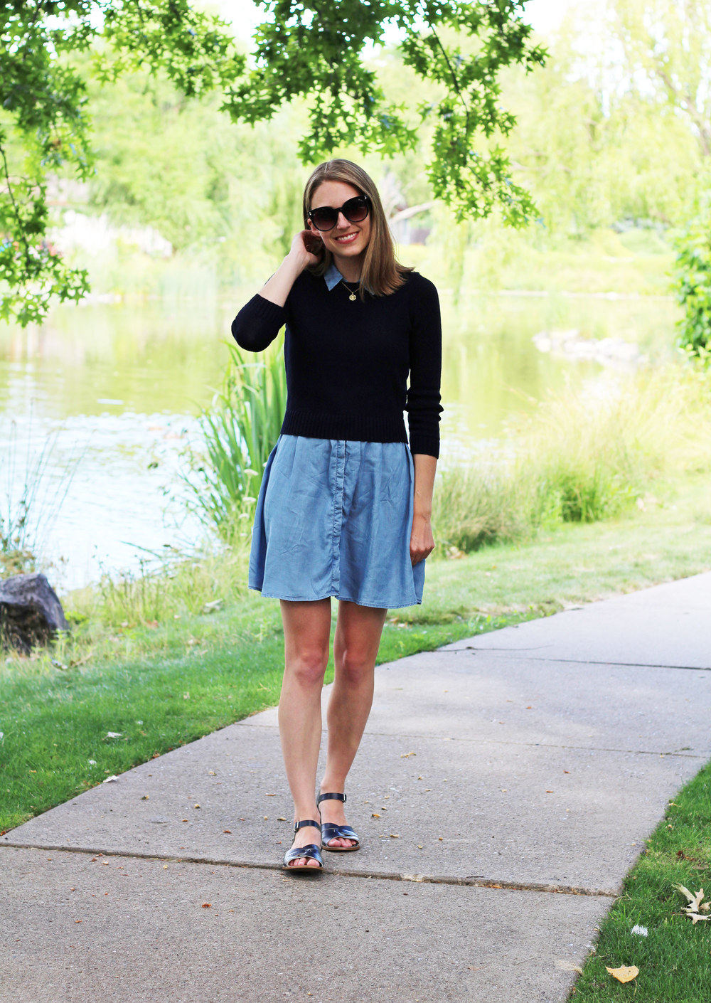 Navy cropped sweater layered over chambray dress + navy Salt Water sandals — Cotton Cashmere Cat Hair