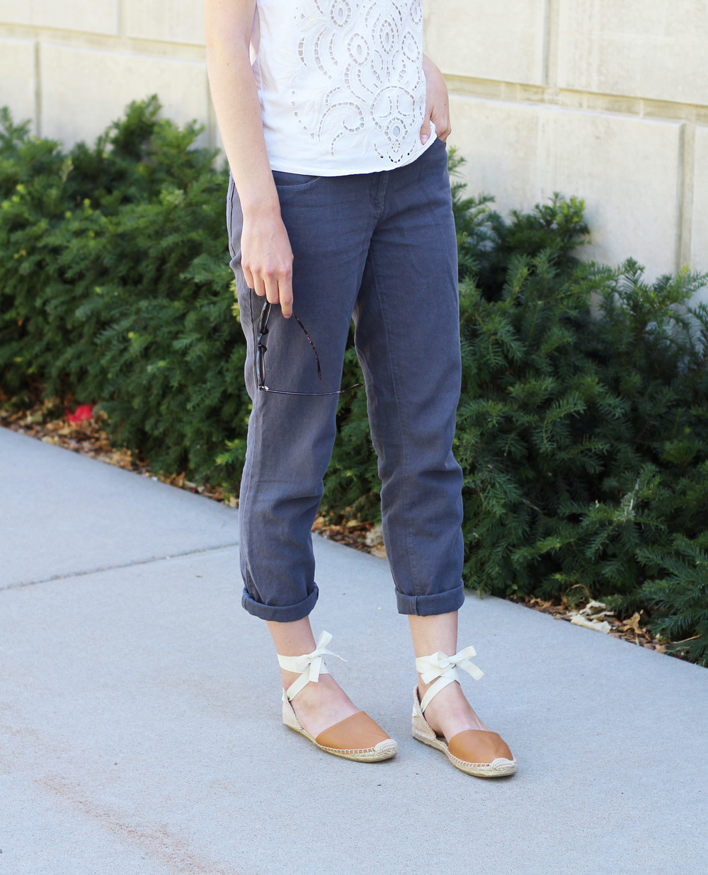Ivory tank top + grey cotton-linen pants + tan Soludos espadrilles — Cotton Cashmere Cat Hair