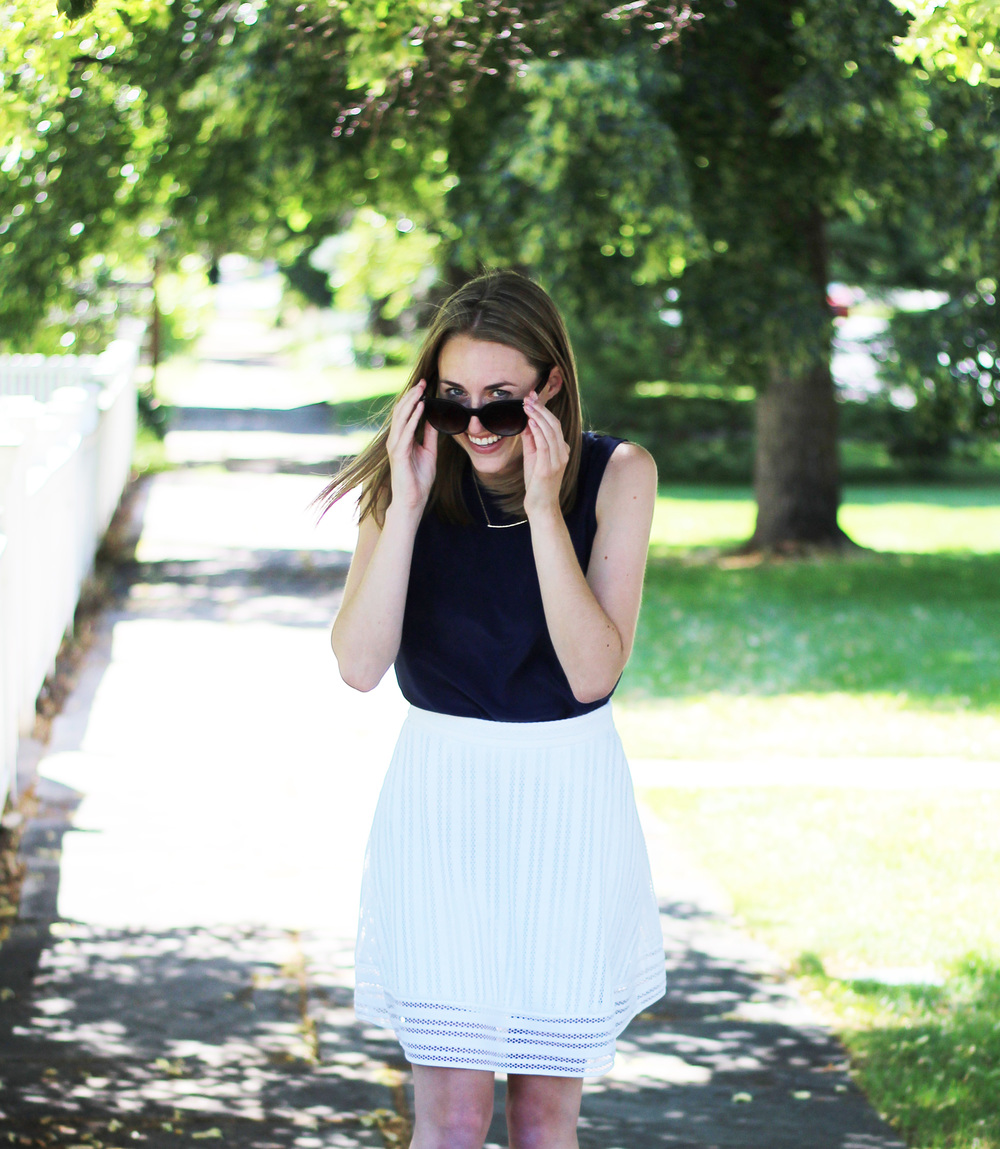 Grana navy silk shell + J.Crew white eyelet skirt + Grana bar necklace — Cotton Cashmere Cat Hair