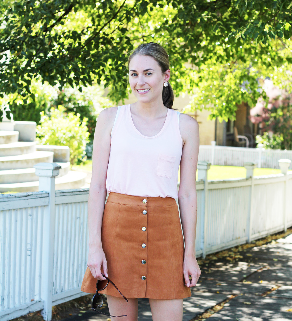Uniqlo light pink tank top + H&M tan suede skirt — Cotton Cashmere Cat Hair