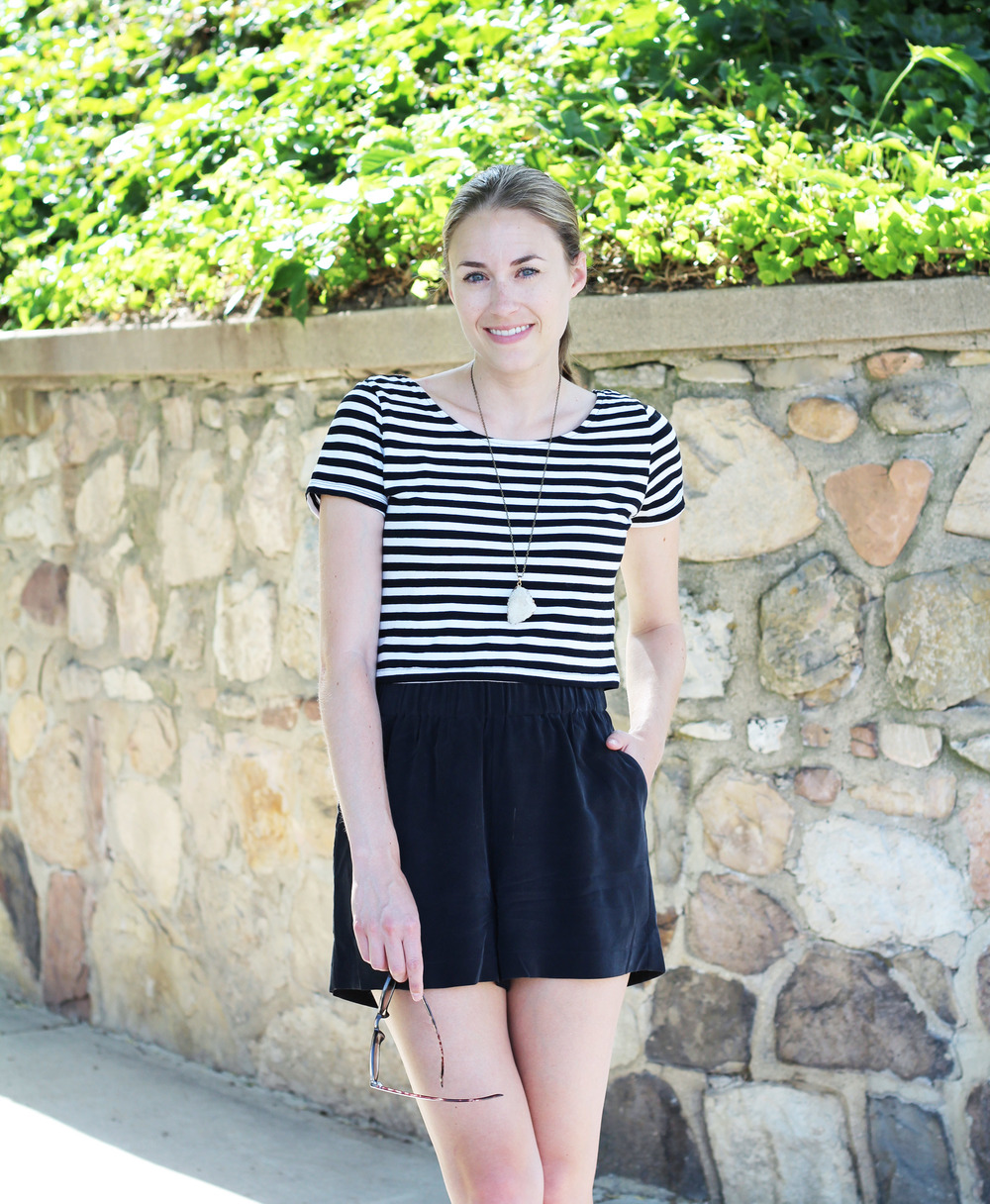 Striped crop top + Grana black silk shorts + quartz pendant — Cotton Cashmere Cat Hair