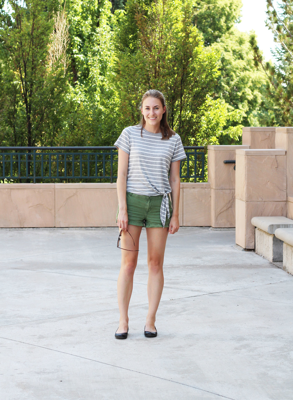 Summer outfit: Striped side-tie tee, green shorts, black flats — Cotton Cashmere Cat Hair