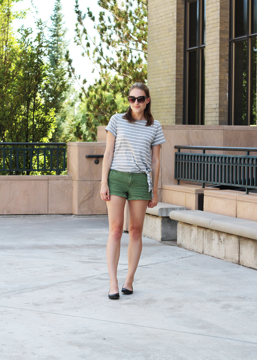 Grey striped side-tie tee, green shorts, black ballet flats — Cotton Cashmere Cat Hair