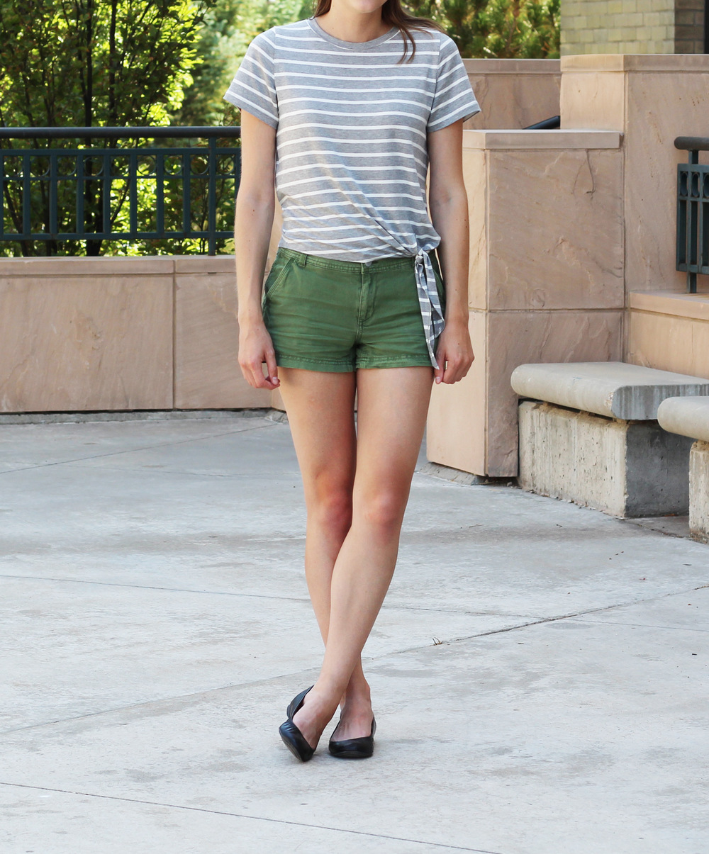 Summer outfit: Striped side-tie tee, green shorts, black ballet flats — Cotton Cashmere Cat Hair