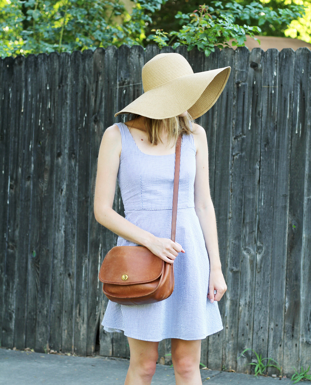 Floppy sun hat with seersucker dress and vintage Coach bag — Cotton Cashmere Cat Hair