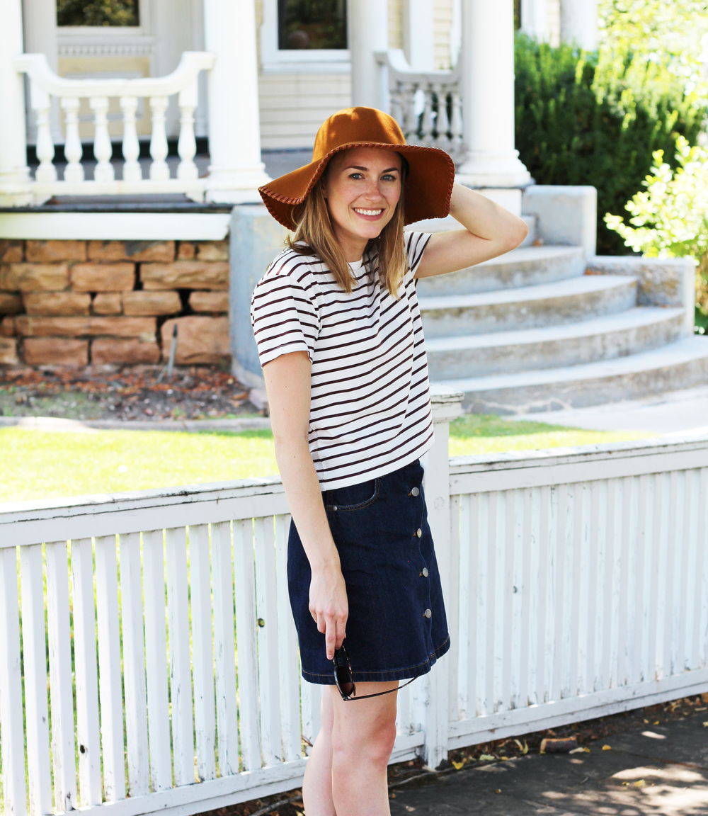 Grana pima box tee, Grana denim skirt, wool floppy hat — Cotton Cashmere Cat Hair