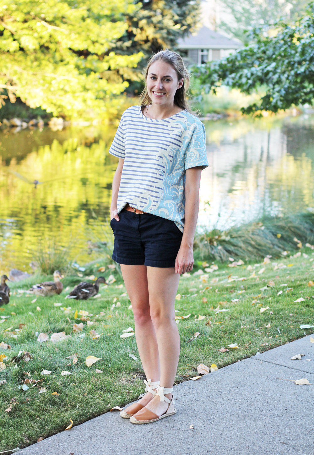 Paul & Joe Sister striped top with waves + navy chino shorts + tan Soludos espadrilles — Cotton Cashmere Cat Hair