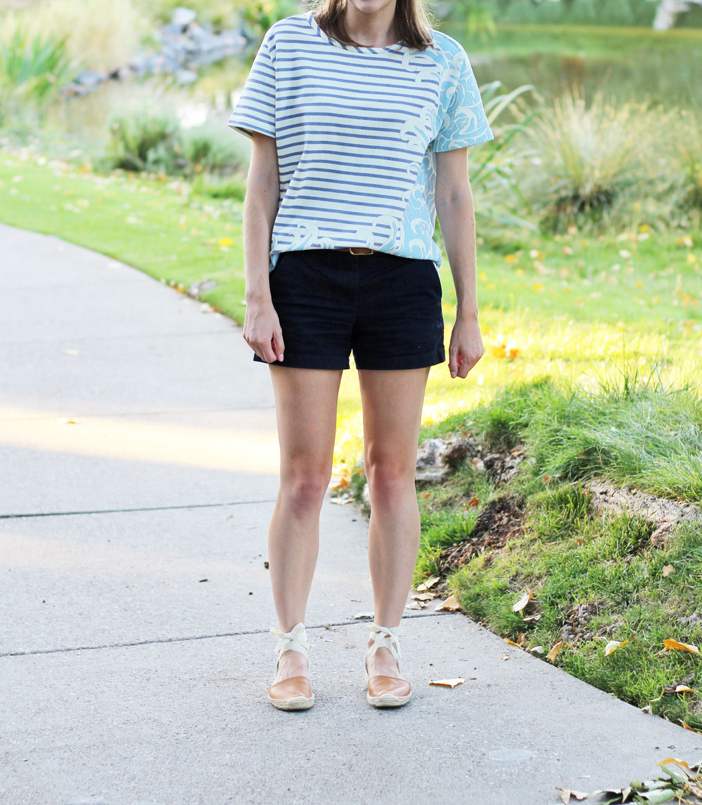 Paul & Joe Sister striped top, navy shorts, tan Soludos espadrilles — Cotton Cashmere Cat Hair