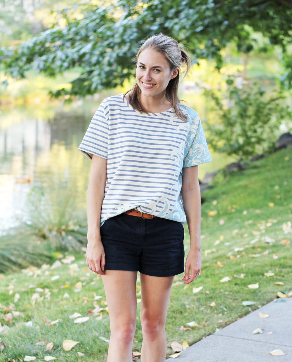 Paul & Joe Sister striped top + navy chino shorts — Cotton Cashmere Cat Hair