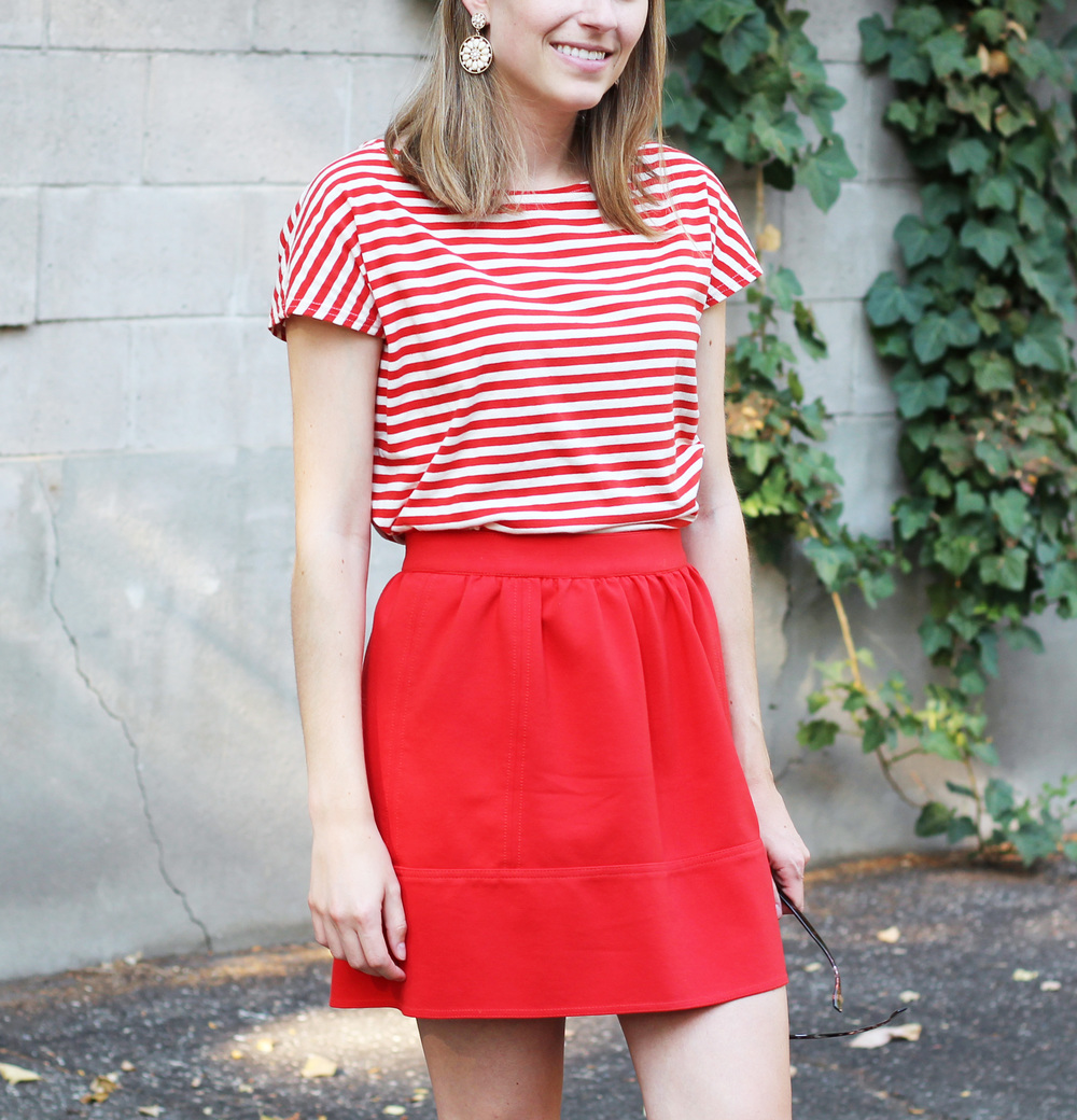 Red stripes + red mini skirt — Cotton Cashmere Cat Hair