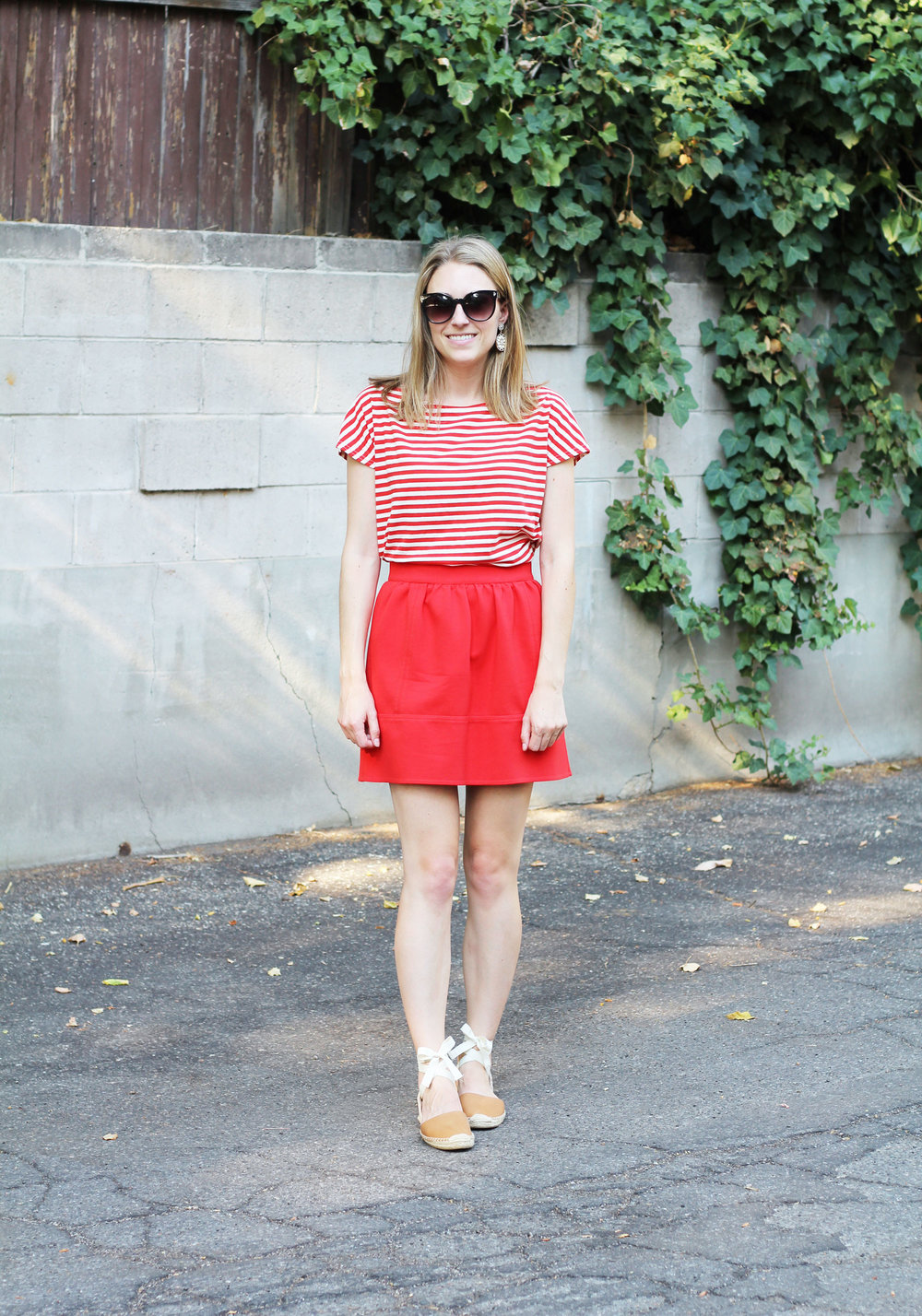 Red stripes outfit with red mini skirt and tan Soludos espadrilles — Cotton Cashmere Cat Hair