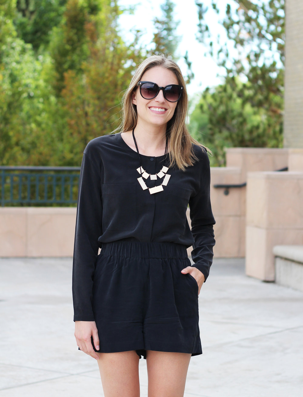 Faux romper: Black silk top + black silk shorts — Cotton Cashmere Cat Hair